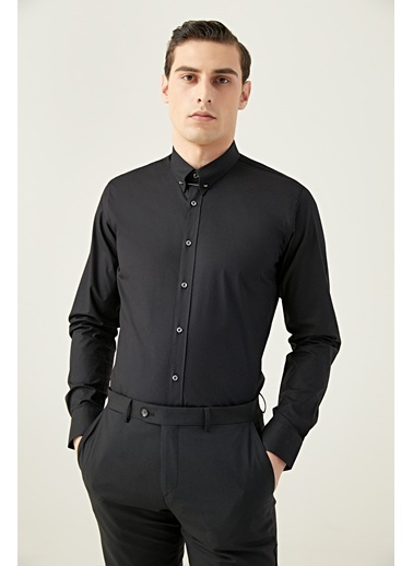 Tween Slim Fit Düz Gömlek Siyah